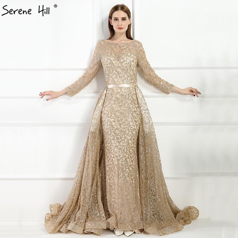 9bad8108441cf Fashion Mermaid Luxury Evening Dress Long Sleeves Gliter With Train Evening  Gowns 2019 Serene Hill La6112 Y19042701