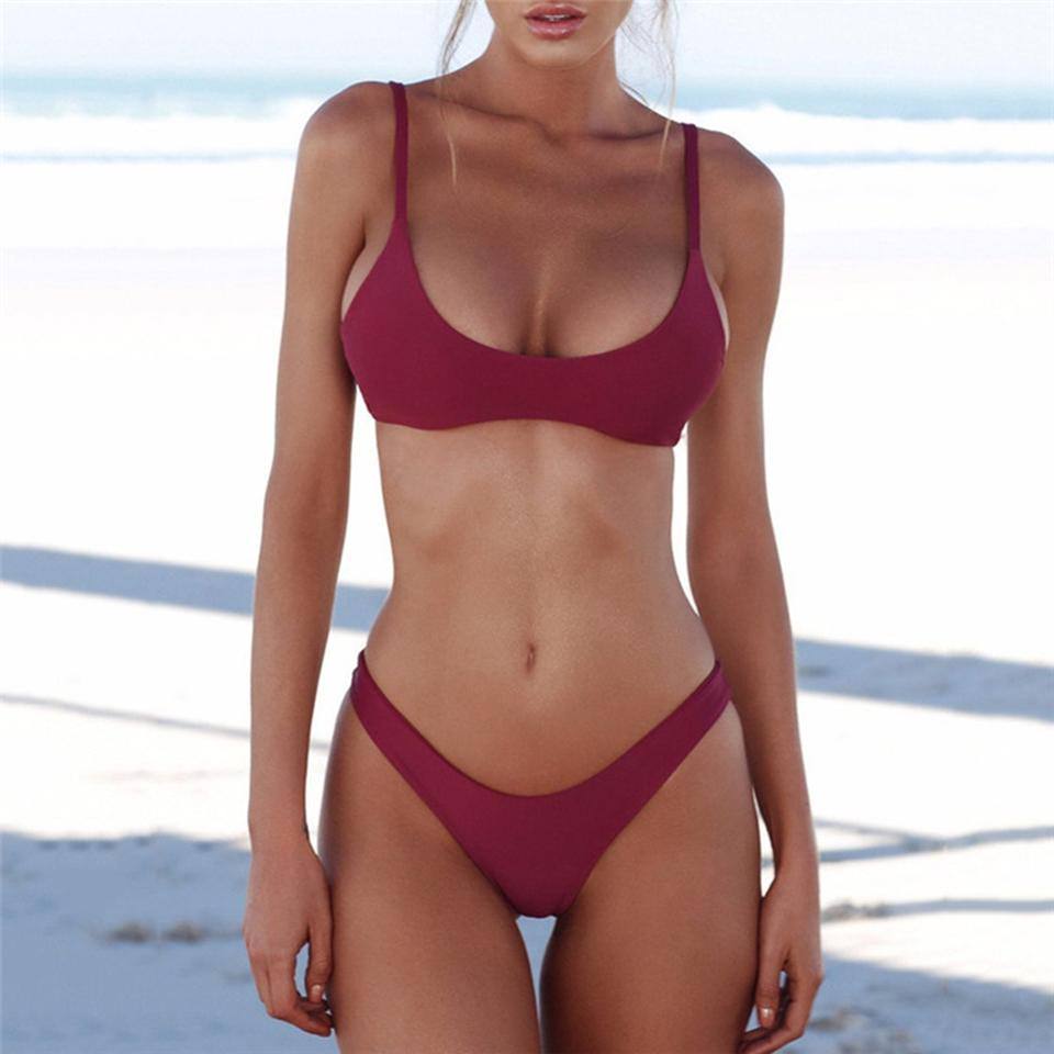 341983b14a 2019 Bikini 2019 Sexy Women Swimwear Brazilian Bikini Push Up Swimsuit  Solid Beachwear Bathing Suit Thong Biquini Bikini Set From Outdoorsport9