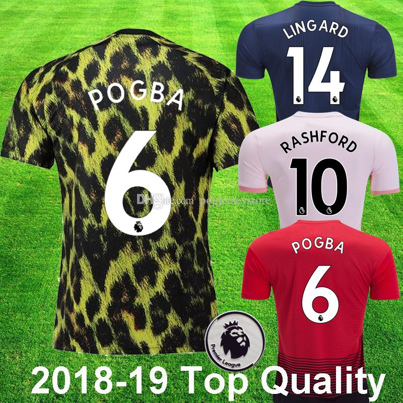 db7c6fc47 2018 19 Manchester United POGBA EA Sports Soccer Jersey MARTIAL LUKAKU  RASHFORD maillot de foot valencia Top Quality ALEXIS Football Shirts
