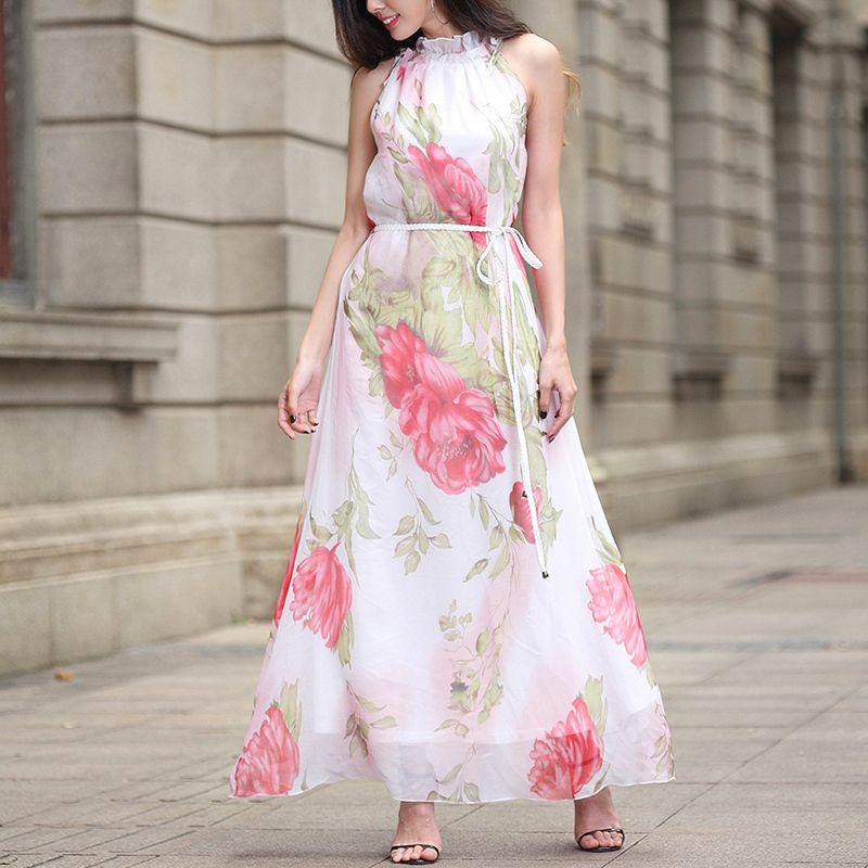d30f03a2e40b 2019 New 2018 Floral Print Chiffon Long Women Bohemian Style Maxi Dresses  Female Vestidos Sexy Beach Summer Dress Lady C19042001 From Linmei0004, ...
