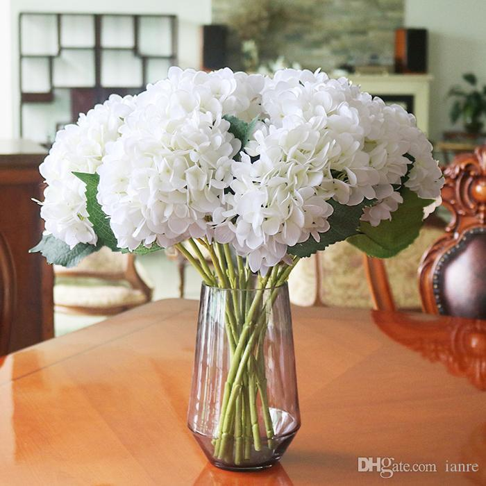"DHL TNT free Artificial Silk Hydrangea Big Flower 7.5"" Fake White Wedding Flower Bouquet for Table Centerpieces Decorations 15colors"