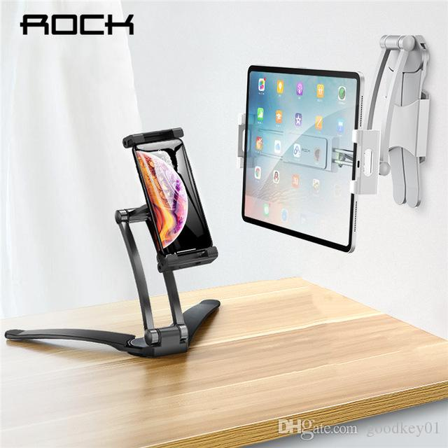 Adjustable Tablet Phone Holder ROCK For iPad 2 3 4 Air Mini Pro For iPhone 360 Degree Roating Desktop Stand For 5-10.5 Inch