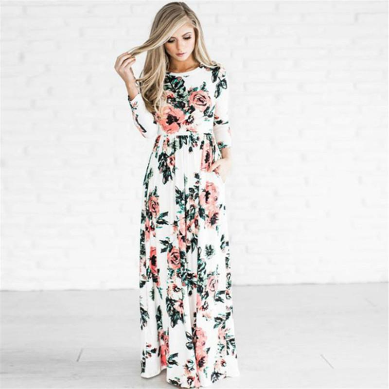 49cef4bdcd94a S-3xl Women Floral Long Dress Boho Maxi Dresses Flowers Printed 3/4 Sleeve  Evening Party Gown Spring Summer Sundress Beach Travel Wear C3211