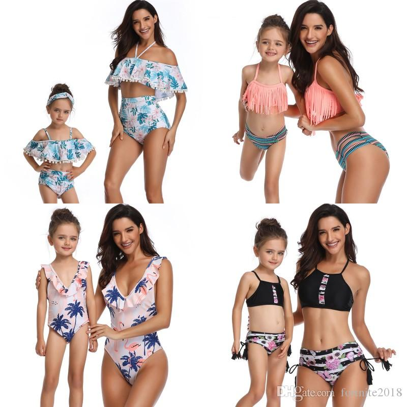 1d67487a663e2 Mommy And Me Swimwear Family Matching Printed High Waist Bikini Swimsuit  Floral Striped Mother Baby Girl Matching Beach Look Matching Sweatshirts  For ...