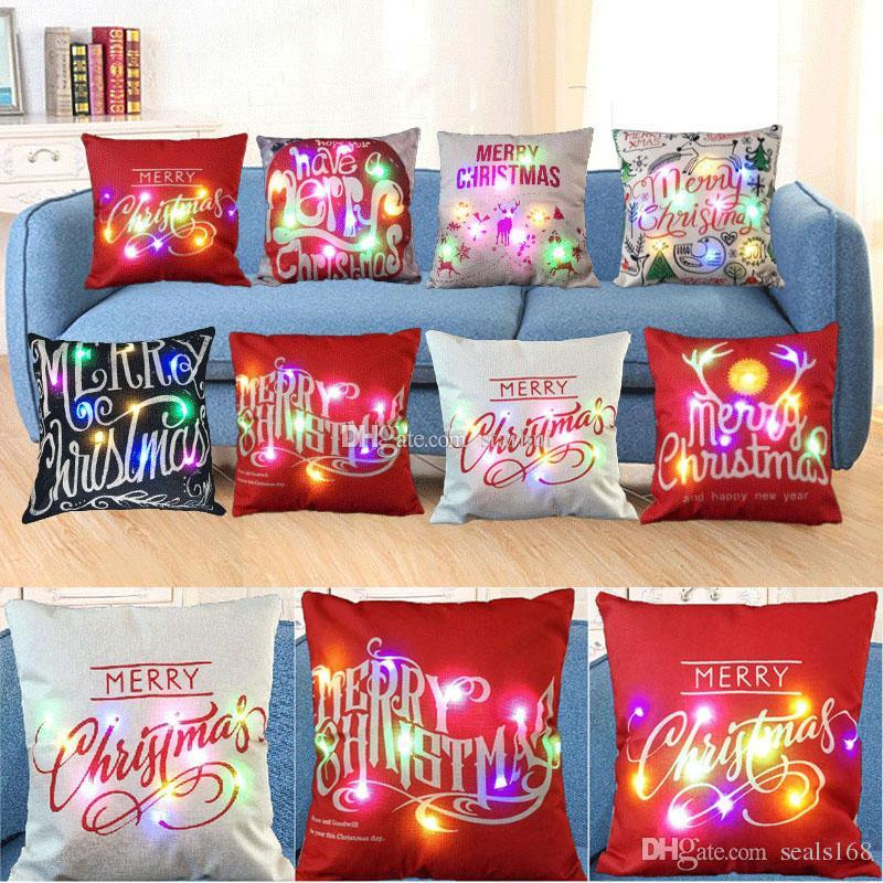Christmas Led Light Luminous Pillow Case Linen Throw Cushion Cover Creative Christmas Square Pillowcase Home Sofa Car Decoration HH9-2308