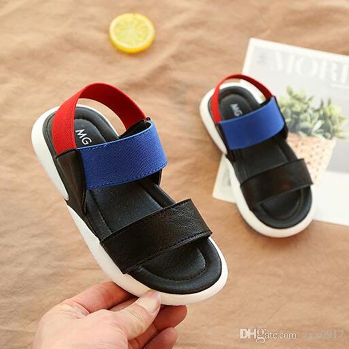 871a2fe03bff6 Acheter Nouveaux Enfants Sandales D été Casual Enfants Plage Chaussures  Garçons Filles Sandales Antidérapant Fond Mou Bébé Sandale Élastique Blanc  Noir De ...