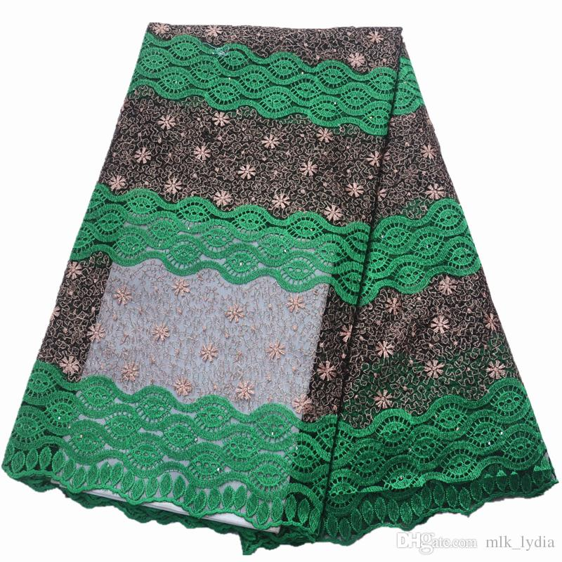 2019 High Quality African Lace Fabric Teal Milk Silk Applique Lace French Tulle Lace Fabric For Nigerian Wedding Dress 5yards/lot best price