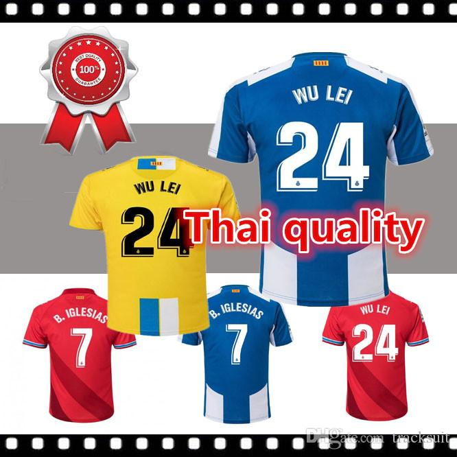 c478e2594abf7 2019 2018 19 RCD Espanyol WU LEI 24 Home Away Thailand Quality Soccer  Jersey Football Shirt Kit Camiseta Futbol Maillot De Foot From Tracksuit