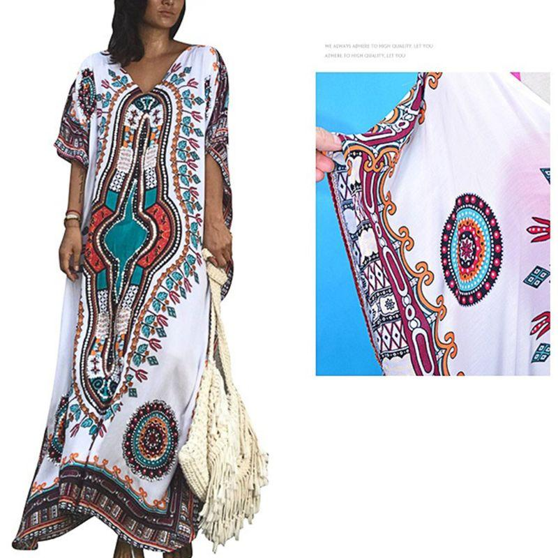bf4b03ea80 Women Vacation Deep V Neck Kaftan Swimsuit Cover Up Ethnic Colored  Geometric Floral Printed Beach Maxi Dress Oversized Long Robe White  Cocktail Dress Ladies ...