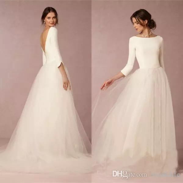 744d9b999 Discount Cheap Modest White Wedding Dress A Line Satin Top Backless 2019  Bridal Gowns With Sleeves Simple Vintage Design Soft Tulle Skirt Sweep  Train A Line ...