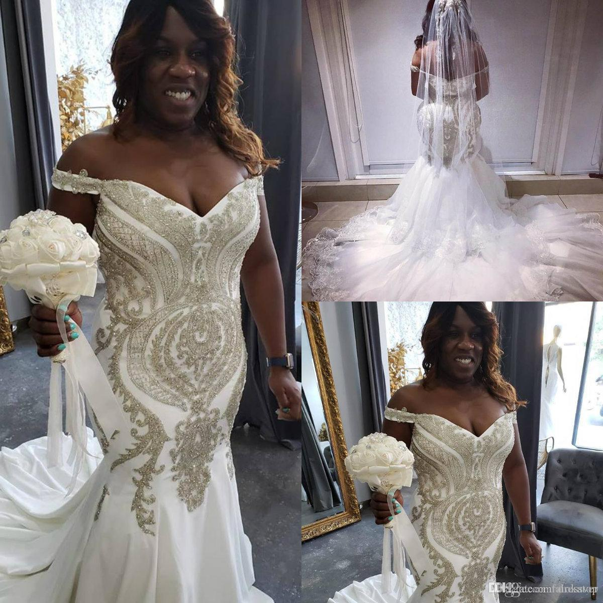 2019 Plus Size Wedding Dresses Off Shoulder Gold Mermaid Wedding Dress Lace  Appliqued Beads Backless Custom Country Bridal Gowns Custom