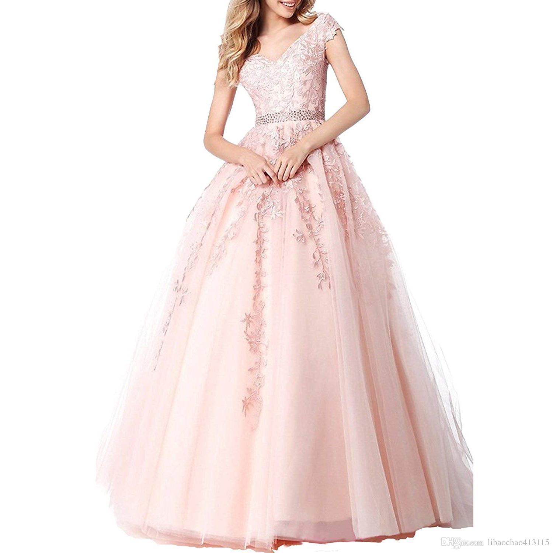 76185ba574e2c Satın Al Kadın V Yaka Balo Elbise 2019 Tül Dantel Balo Gelinlik Modelleri  Cerimonia Uzun Aplikler Abiye Vestido De Formatura, $143.12   DHgate.Com'da