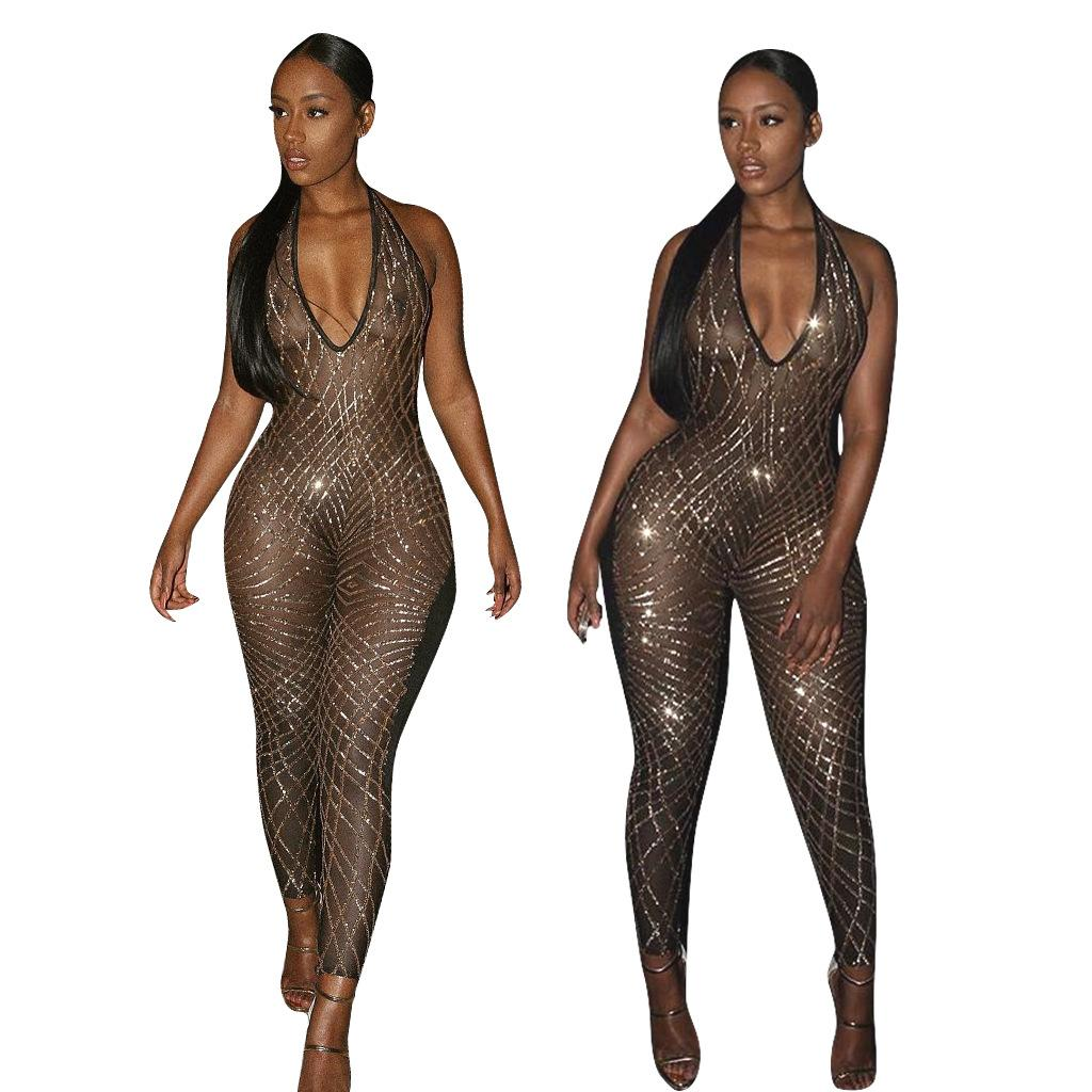 0f2fdab5c8 2019 Rompers Sexy Women Jumpsuit Sleeveless Halter Backless Sequin ...