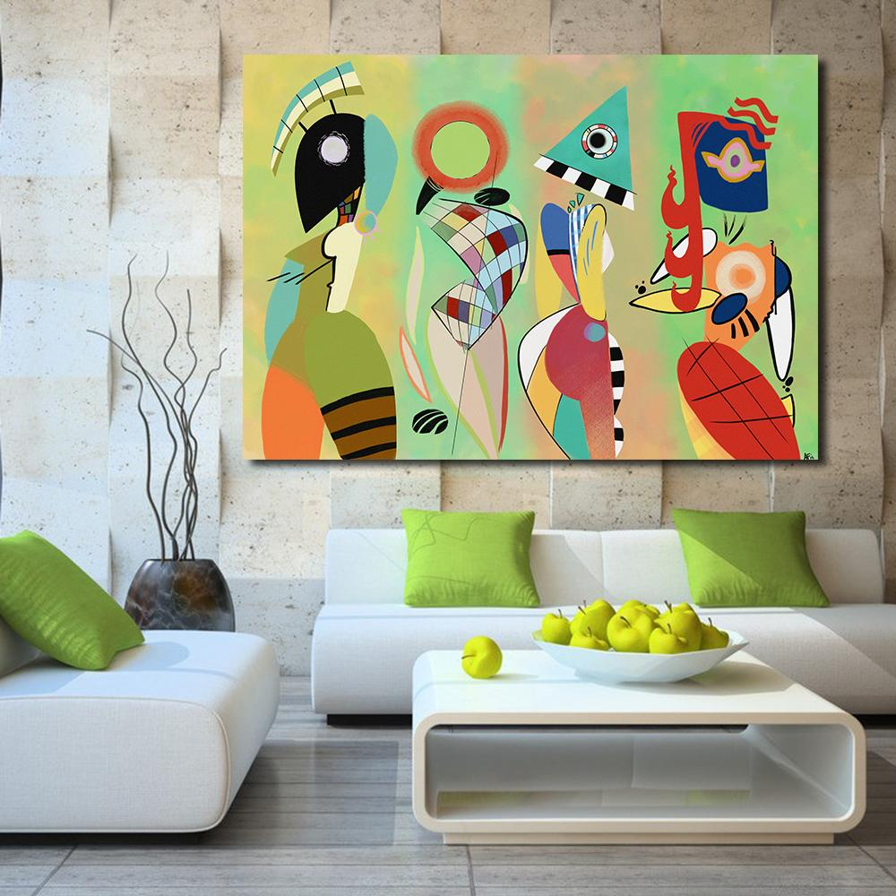 100 Handmade Abstract Canvas Art Wassily Kandinsky Wall Pictures For Living Room Bedroom Modern Painting Home Decor No Frame