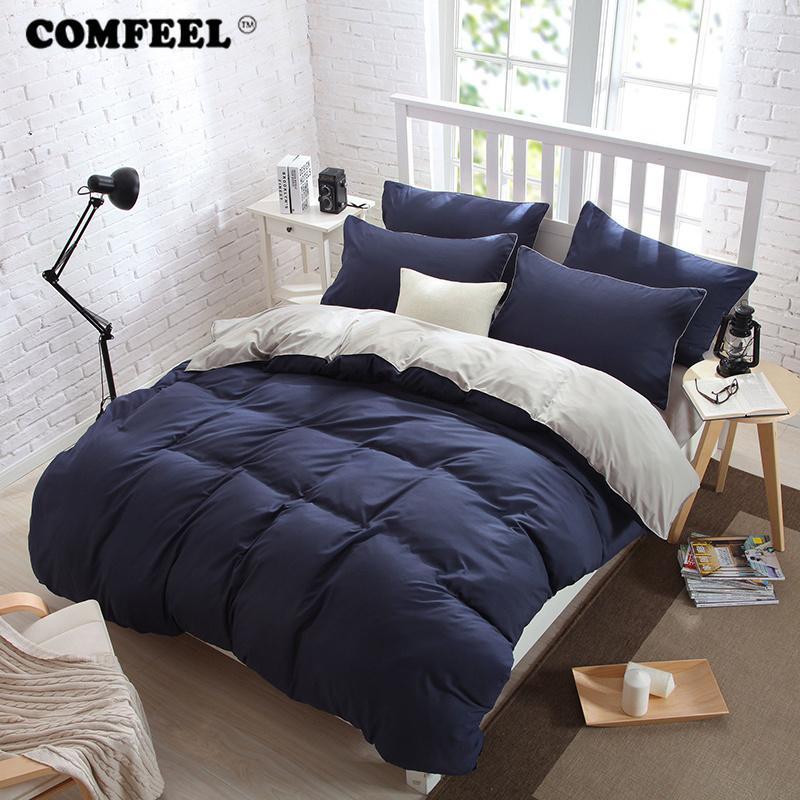 Baumwolle 100 Stoff Bettwäsche Einfarbig Haut Komfort Bettbezug Flaches Blatt Kissenbezüge Warme Winter Steppdecke Tröster Blätter Set