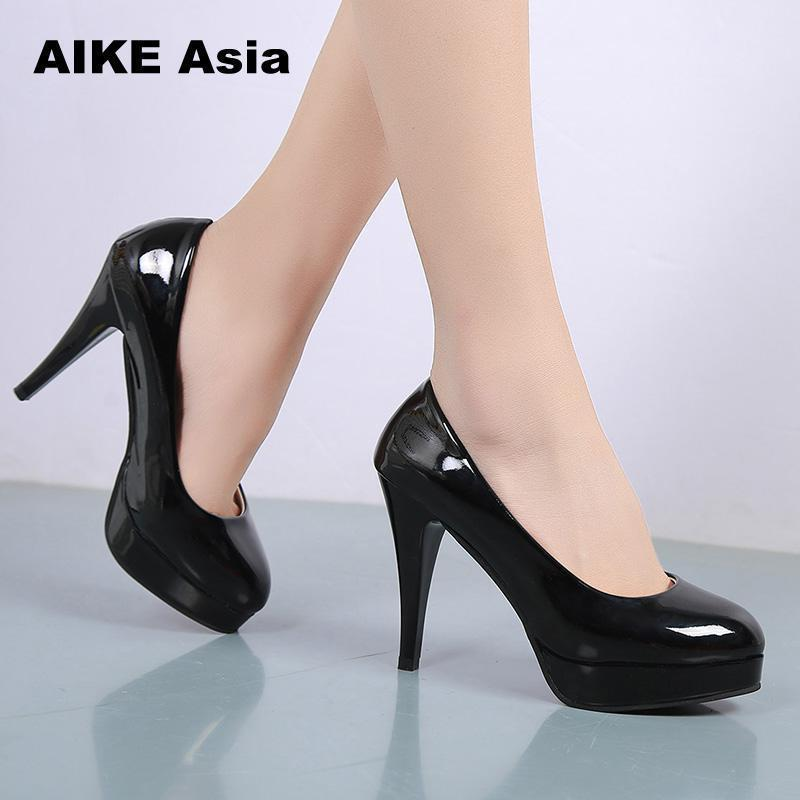 59daca79532a Shoes 2019 Elegant Women S Fashion Leather Heels Sexy Simple Round Toe  Shallow Stilettos Office Pumps Platform High Heel Black Shoes Nude Shoes  From Deals15 ...