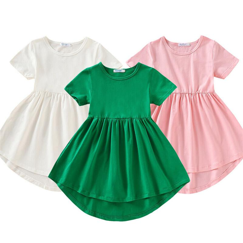 Baby Girls Dress Short Sleeve Princess Party Pageant Dresses Kids Clothes Toddle