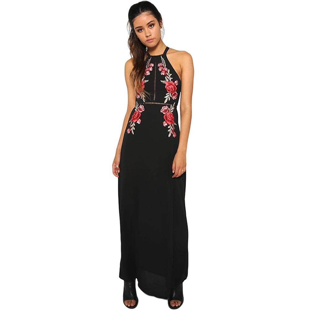 Maxi Florale Acheter Dress Femme Robe D'été Halter Sexy Dos Broderie E55vqpx1