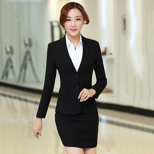 a1ca4bb2a Traje de falda para mujer estilo uniforme de oficina para mujer falda  trajes blazer conjunto de alta calidad más tamaño elegante negocio ropa de  ...