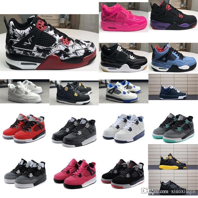 f4f91309c773ef Little Kids Retro 4s Basketball Shoes J4 White Cement Premium Black ...