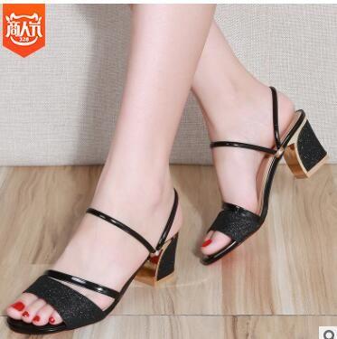 ca9093f091 2019 2019 New Summer Women Flat Sandals Shoes Women Square Heel Sandalias  Buckle Sandals High Heels Strap Sandals From Zcxywl888, $31.16 | DHgate.Com