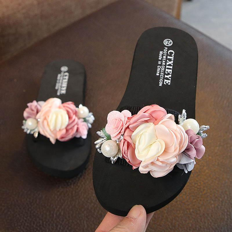 Sweet 3D flower Girls Slippers Summer kids shoes pearl girls sandals kids Beach Sandals Childrens Slippers kids designer shoes A6418