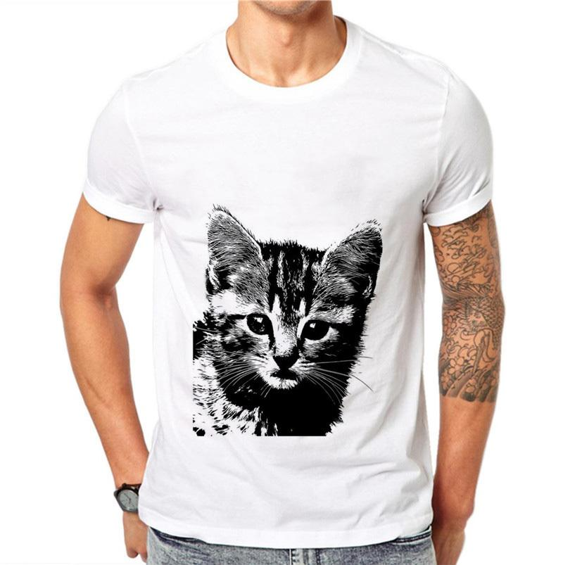 100% Cotton Mens Funny Cute Kawaii Cat Design T Shirt Male Fashion Cool Tops Hipster Printed Summer Tees Plus Size 4xl