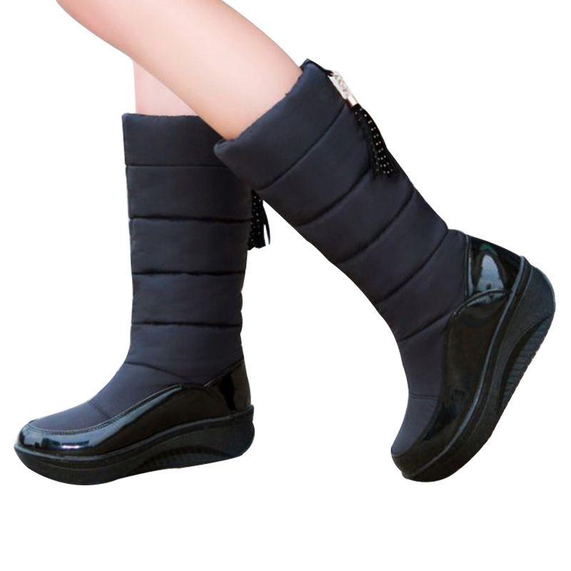 49b1f615 Compre Botas De Nieve Mujer Invierno Cálido Plataforma Zapatos Con Flecos  De Piel Cuñas Tacones Hasta La Rodilla Botas De Mujer Botas De Cuero Bota  Zapatos ...