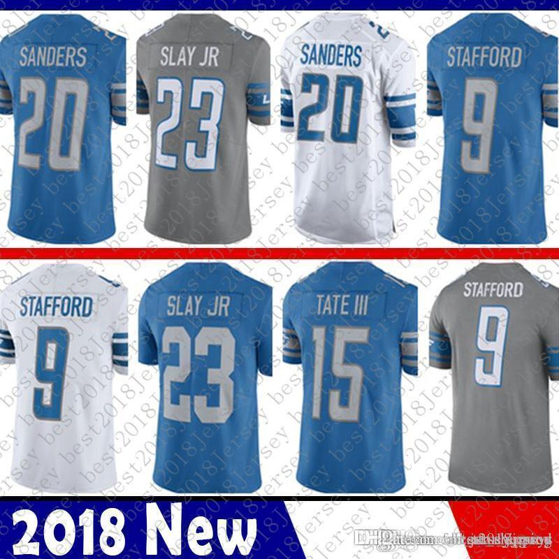 wholesale dealer 0c50a a4cd1 Limited Detroit 9 Matthew Stafford Lions Jersey 20 Barry Sanders 15 Golden  Tate III 23 Darius Slay JR Football Jerseys Blue White Color Rush