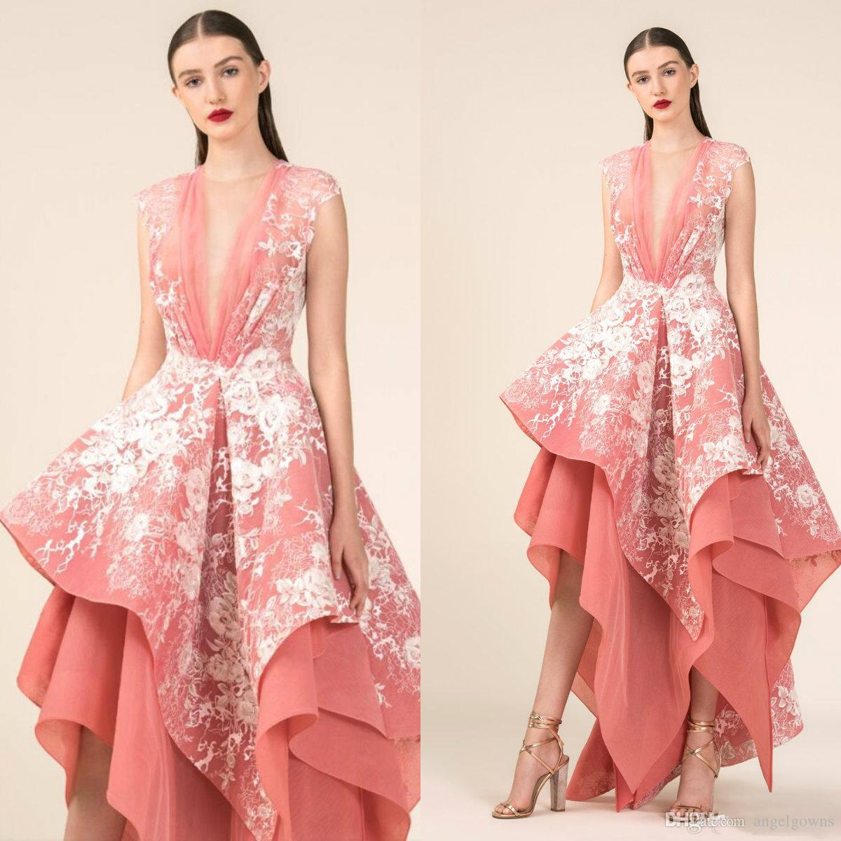 ca7522d4a6 Saiid Kobeisy Asymmetrical Prom Dresses A Line Puffy Skirt Latest 2019 Sexy  Illusion Deep V Neck Lace Appliques Evening Dress Party Wear Long Gowns  Pink ...