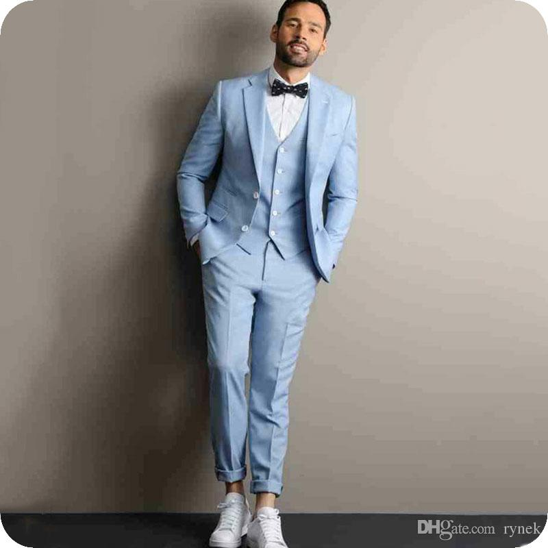 Blue Linen Wedding Suits for Man Groom Tuxedos Bridegroom Blazers Slim Fit Smoking Jacket 3Piece Latest Coat Pant Designs Terno Masculino