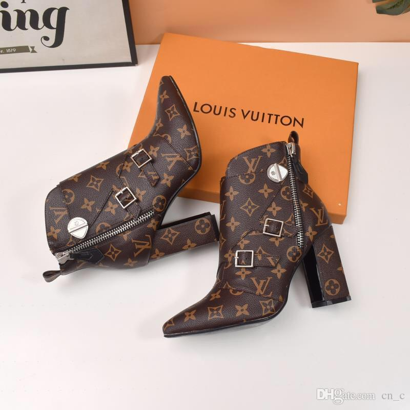 H2020 new classic printed high heels trend leather pointed casual shoes casual fashion Martin boots size 35-41