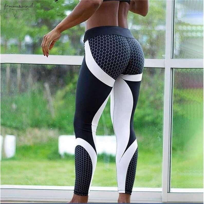 Mesh Pattern Hot Print Leggings Fitness For Sporting Workout Leggins Elastic Slim Black White Pants Push Up Dropshipping