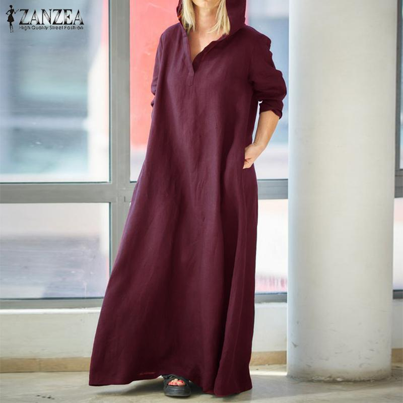 28a46eb21a2d8 2019 Maxi Dress Women Long Sleeve Hooded Cotton Linen Dress ZANZEA 2019  Autumn Kaftan Female Vintage Casual Tunic Vestido Oversized Y19042401 From  Huang03, ...