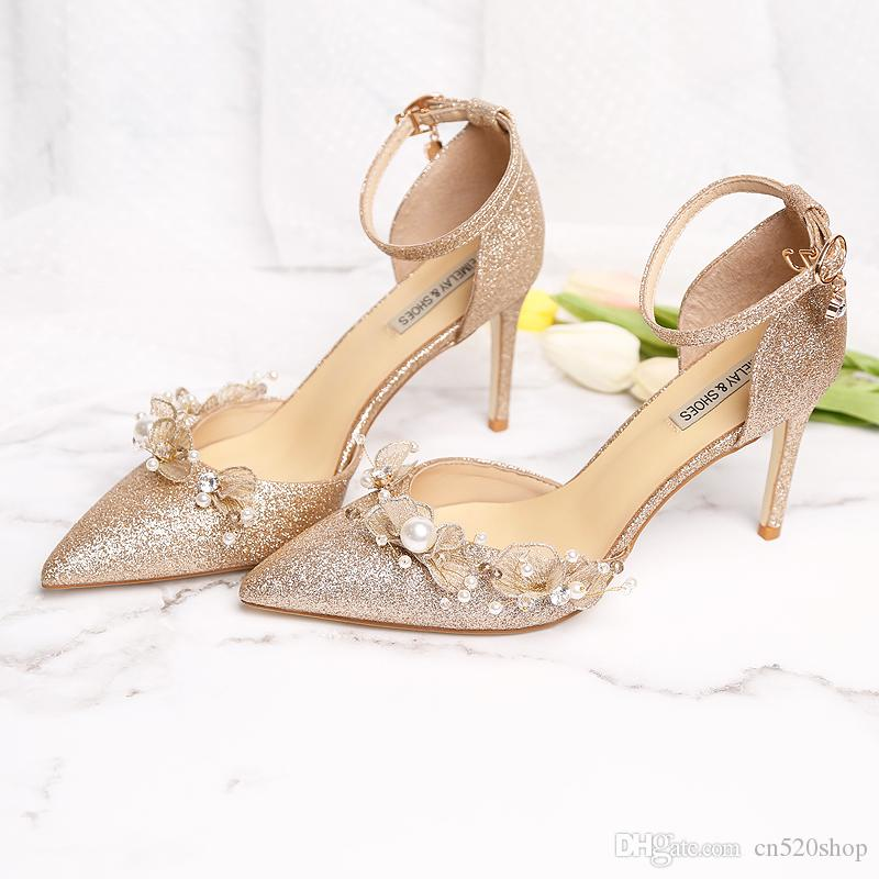 b4ec83c53f1cf3 Elegant Women Wedding Dress Shoes High Heels Sandals 2019 Thin High Heels  Women Pumps Sexy Wedding Shoes Party With Pearl Women Formal Shoes Wedge  Shoes ...