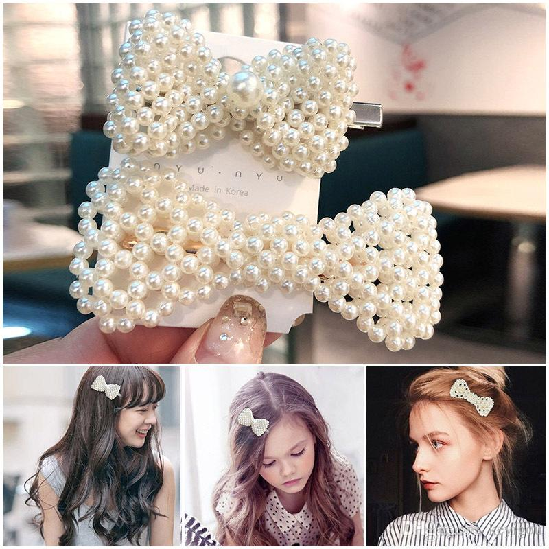 Fashion Bow Flower Geometric Pearl Hair Clips for Women Girls Bridal Wedding Hair Pins Pearl Barrette Hair Accessories