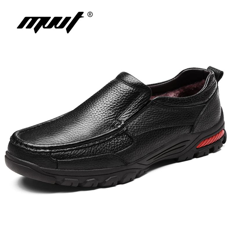 MVVT Plus Size Genuine Leather Winter Slip On Men Loafers Casual Shoes Height Increasing Business Snow ShoesMX190907