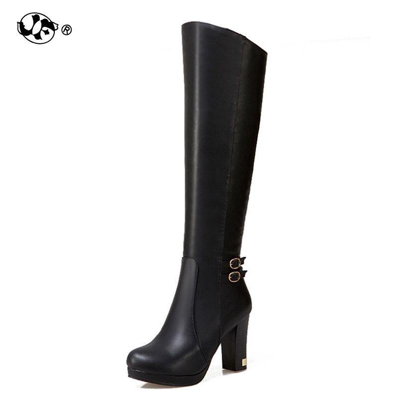 cbedceb3113ef4 Großhandel Große Größe 34 43 Frauen Knie Stiefel Vintage Platz High Heels Runde  Kappe Plattform Schuhe Frau Winter Pelz Ritter Stiefel Yhj89 Von Ycqz4