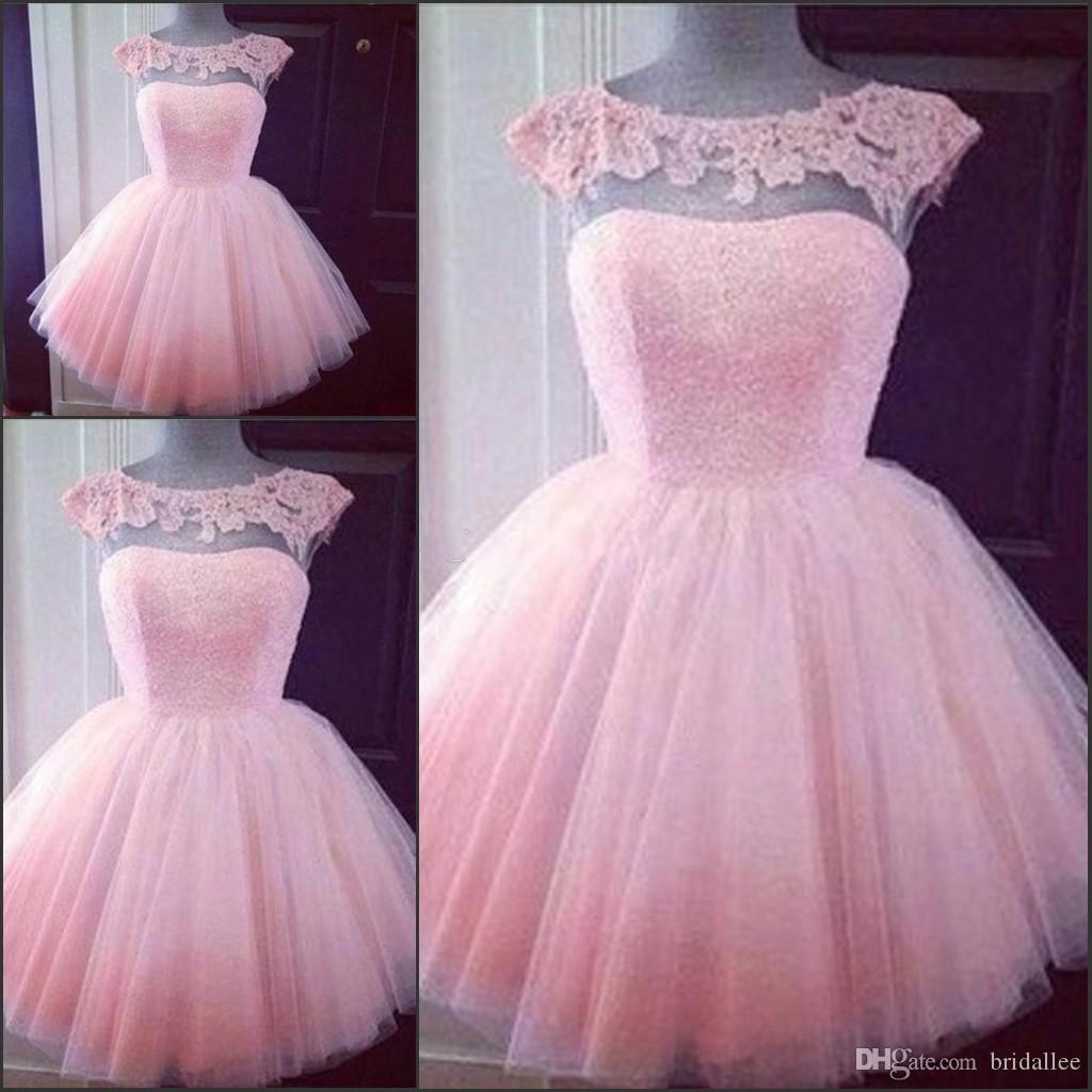 Nette kurze rosa Homecoming Prom Kleider Puffy Tüll Little Pretty Party Kleider Günstige Appliques Capped Sleeves Mädchen Formale Kleider