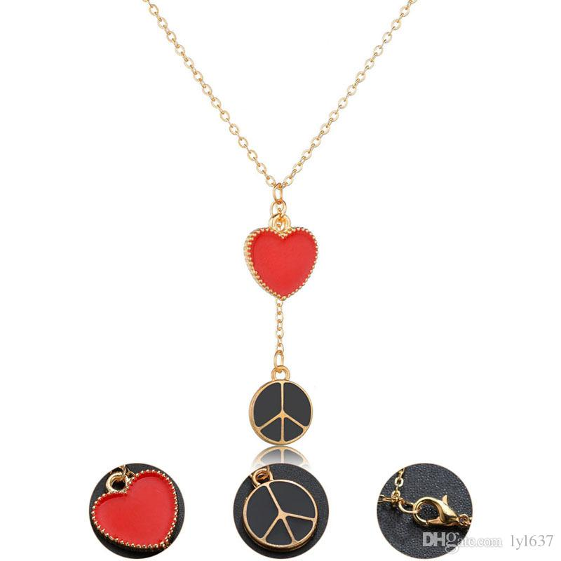 Fashion Women Jewelry Gold Plated Charm Chain Necklace Love And Peace Alloy Pendant Necklace For Party Accessories