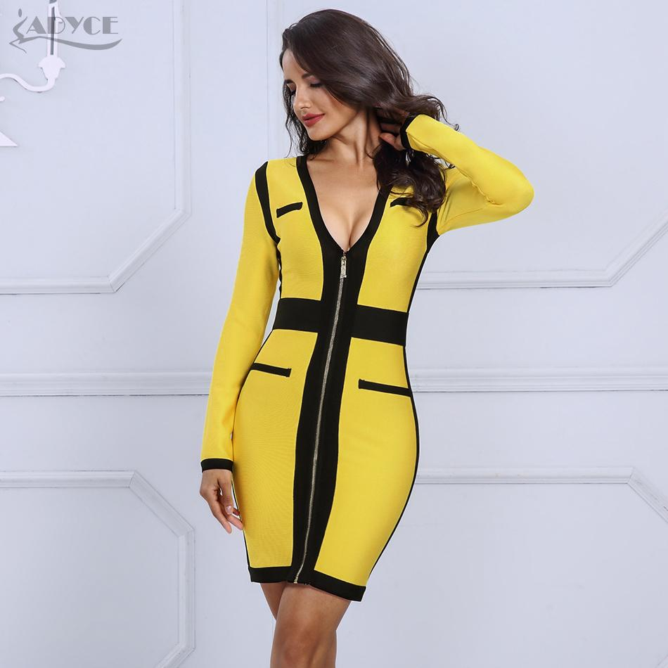 1961ccddb Compre Adyce 2019 Alta Qualidade Summer Bandage Dress Mulheres Yellowblack V  Neck Manga Comprida Dress Celebridade Evening Party Dress Vestidos Y190415  De ...