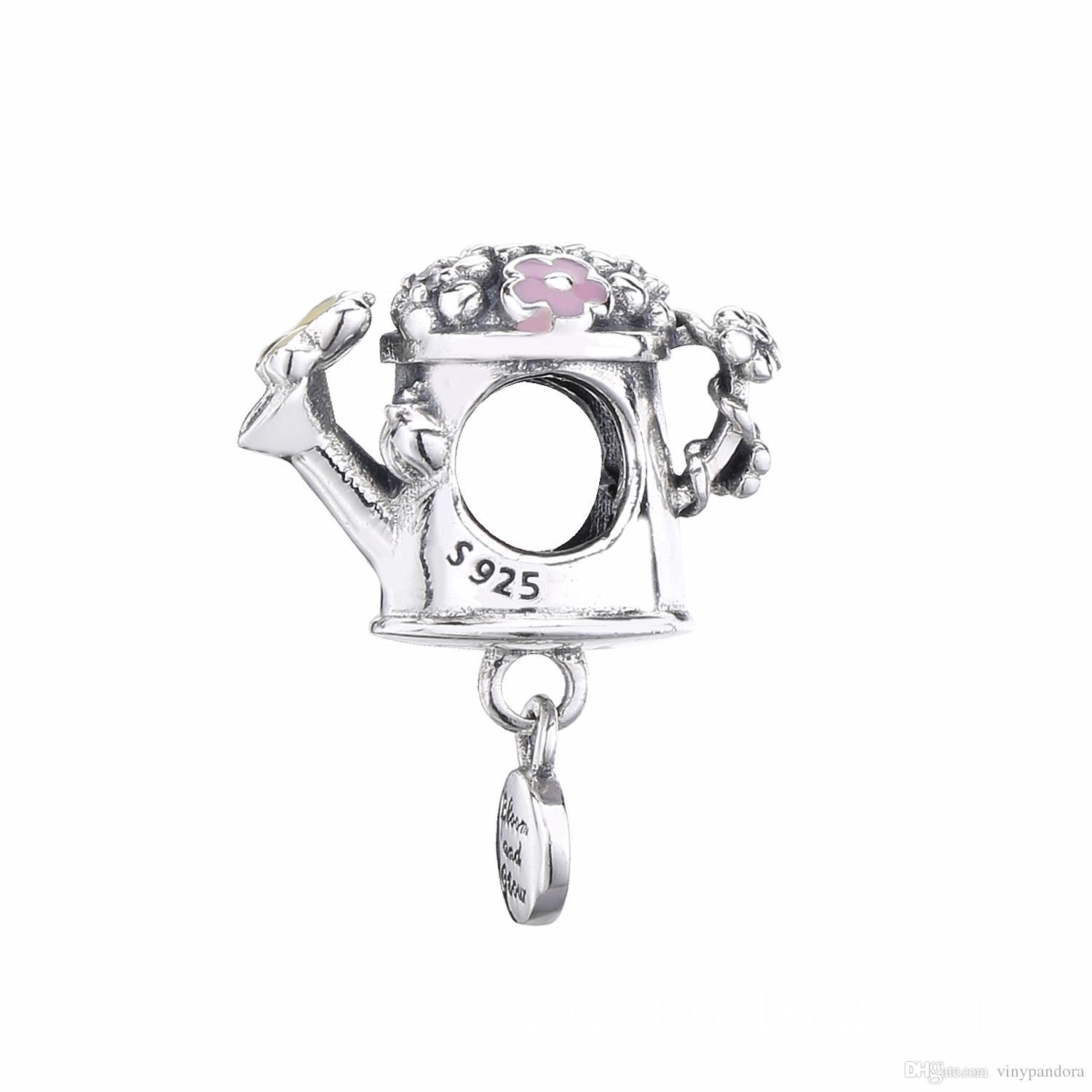 7c04b2e6d 2019 Spring 925 Sterling Silver Blooming Watering Can Charm Bead For ...