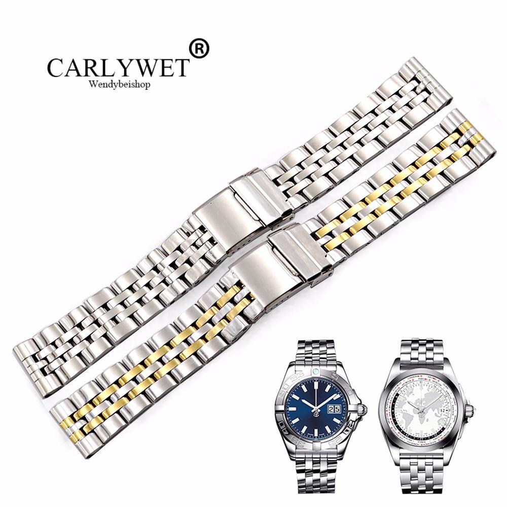 f7faebdef4af Compre CARLYWET 22 24mm Correas De Reloj De Acero Inoxidable Plateadas Dos  Tonos De Oro REEMPLAZO Banda De Reloj De Pulsera Para Super Ocean1884 A   33.12 ...