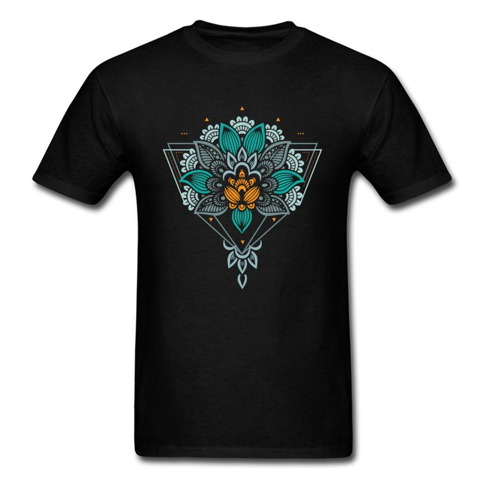 Man T-shirt Black Tshirt Geometric Mandala Tops Flower Ornaments Tees 100% Cotton Men T Shirt Custom Company Mandala Clothes