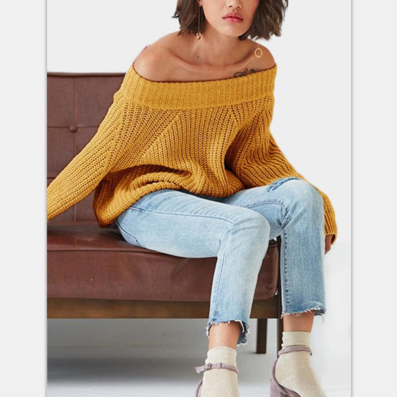 6477337b77 2019 Autumn And Winter Chic Style Solid Cute Sweater Computer ...