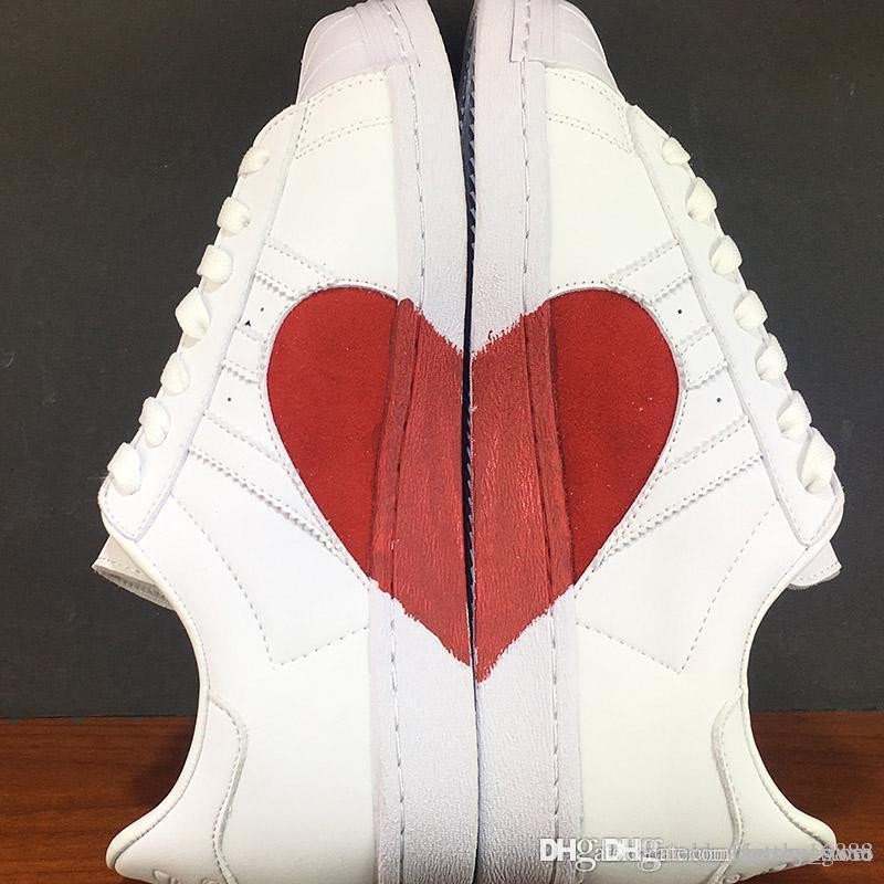 newest d6d90 a61f5 Newest 2019 Originals Women Superstar 80s Half Heart Valentine's Day White  New CQ3009 Running Shoes Come With Original Box
