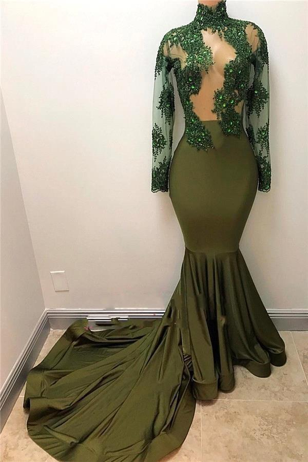 Olive Green Mermaid Prom Dresses 2018 African High Neck Long Sleeves Beads Lace Appliqued Satin Sweep Train Women Party Gowns BA7958