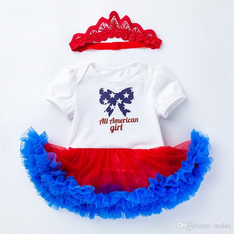 happy 4th of July 100% Cotone Stati Uniti Independence Holiday Toddler Clothes Handmake Stampa Baby Pagliaccetti Star Con archetto