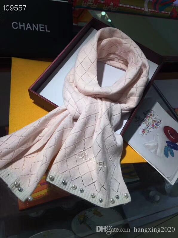 Women Luxury Scarf Brand Designer Cashmere Classic plaid knit style pearl Scarfs 190x40cm Warm Soft Fashion Shawl Scarves