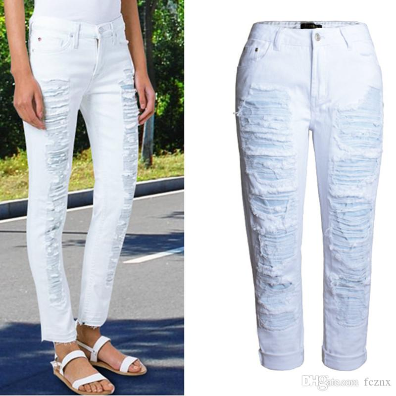 ee165b7a0ce 2019 2019 Women Clothing Mid Waist Straight Loose Cotton Jeans Female  Fashion Hole Ripped Spliced BF Style Washed Denim Capris Pants AM055 From  Fcznx, ...